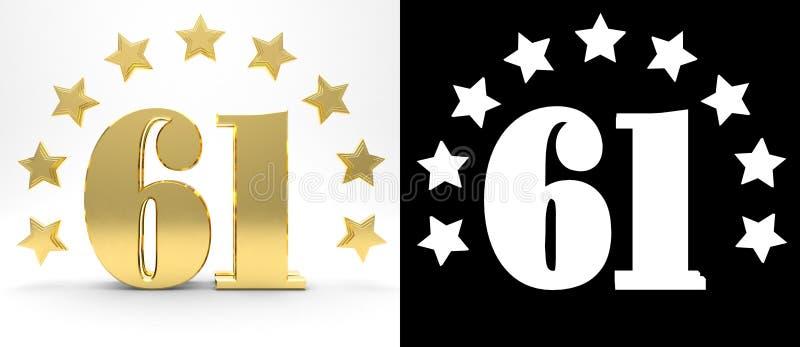 Gouden nummer éénenzestig op witte achtergrond met daling stelt en alpha- die kanaal in de schaduw, met een cirkel van sterren wo stock illustratie