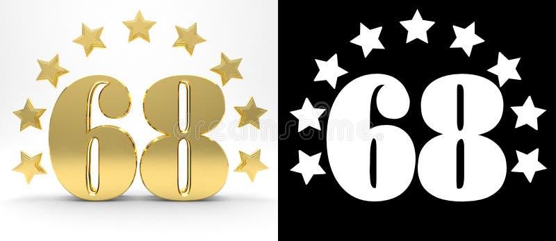 Gouden nummer achtenzestig op witte achtergrond met daling stelt en alpha- die kanaal in de schaduw, met een cirkel van sterren w royalty-vrije illustratie