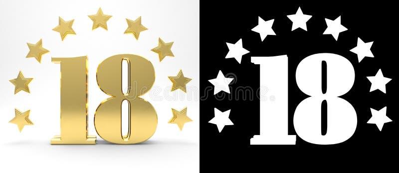 Gouden nummer achttien op witte achtergrond met daling stelt en alpha- die kanaal in de schaduw, met een cirkel van sterren wordt stock illustratie