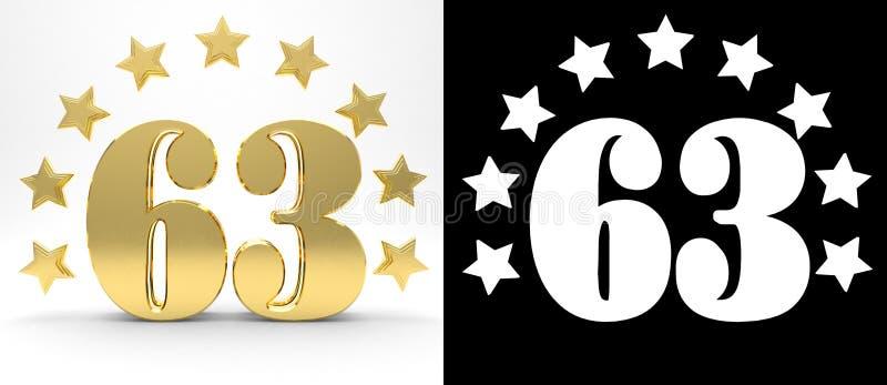 Gouden nummer drieënzestig op witte achtergrond met daling stelt en alpha- die kanaal in de schaduw, met een cirkel van sterren w royalty-vrije illustratie