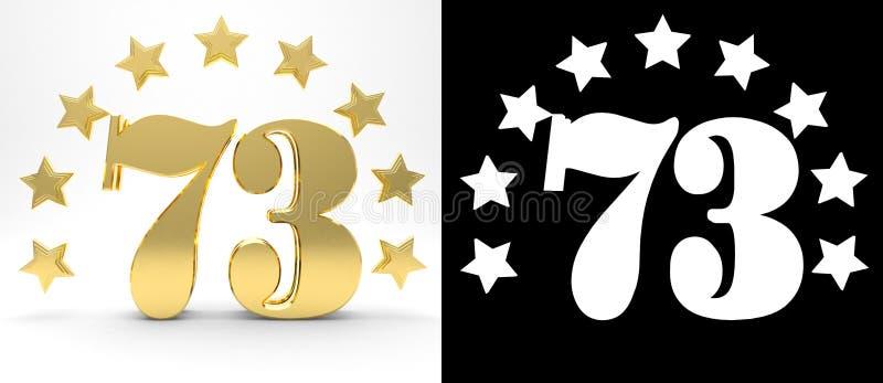 Gouden nummer drieënzeventig op witte achtergrond met daling stelt en alpha- die kanaal in de schaduw, met een cirkel van sterren stock illustratie