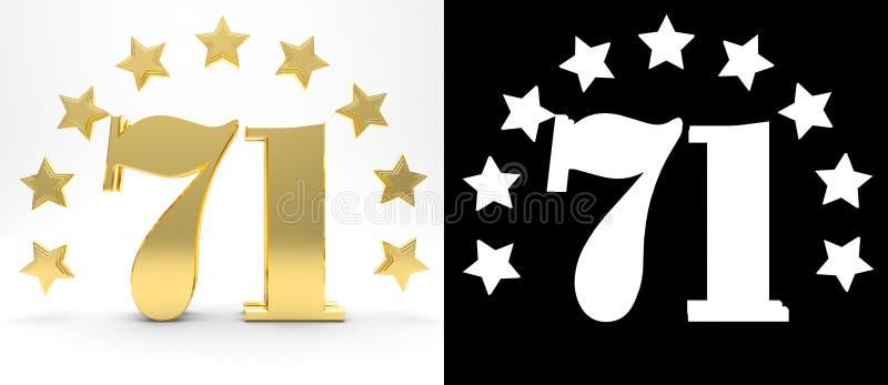 Gouden nummer eenenzeventig op witte achtergrond met daling stelt en alpha- die kanaal in de schaduw, met een cirkel van sterren  royalty-vrije illustratie