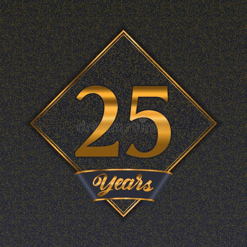 Gouden nummer 25 malplaatjes vector illustratie