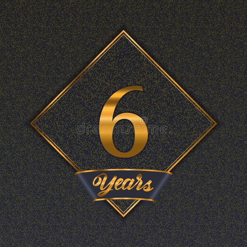 Gouden nummer 6 malplaatjes vector illustratie