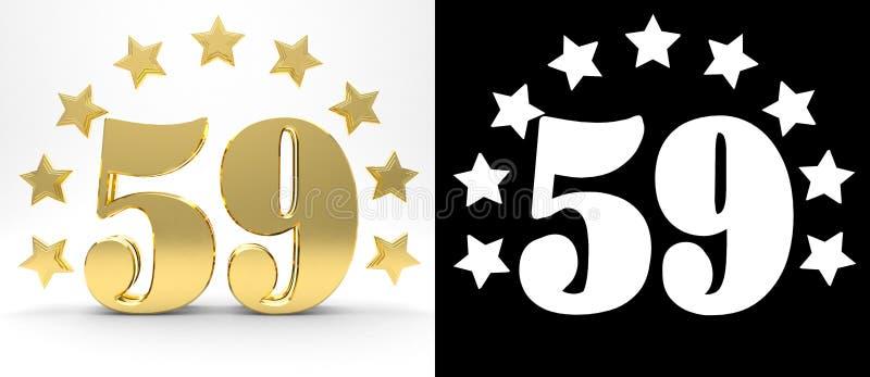 Gouden nummer negenenvijftig op witte achtergrond met daling stelt en alpha- die kanaal in de schaduw, met een cirkel van sterren vector illustratie