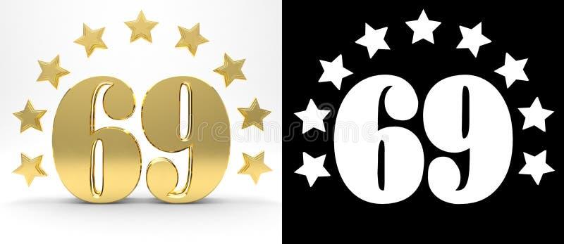 Gouden nummer negenenzestig op witte achtergrond met daling stelt en alpha- die kanaal in de schaduw, met een cirkel van sterren  vector illustratie