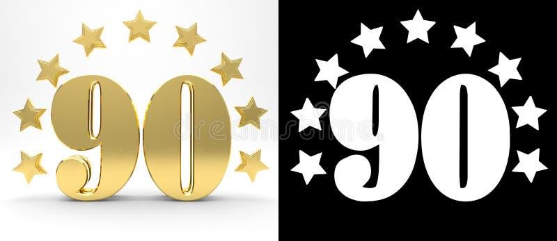 Gouden nummer negentig op witte achtergrond met daling stelt en alpha- die kanaal in de schaduw, met een cirkel van sterren wordt vector illustratie