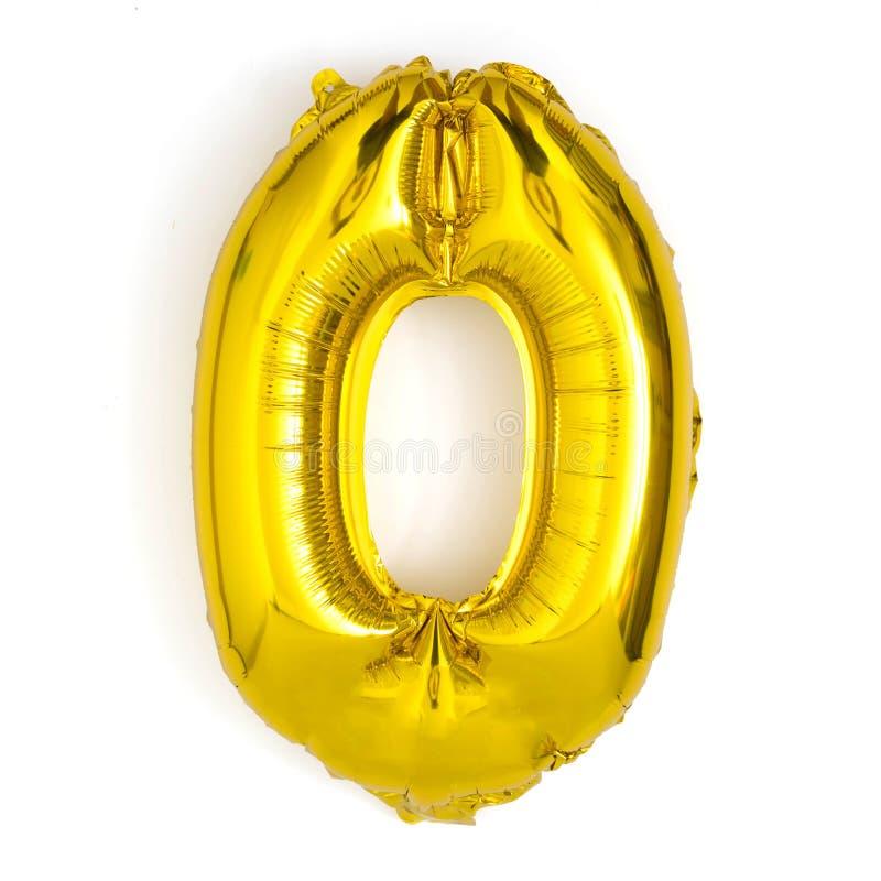 gouden nummer nul de decoratieverjaardag van de ballonpartij stock afbeelding