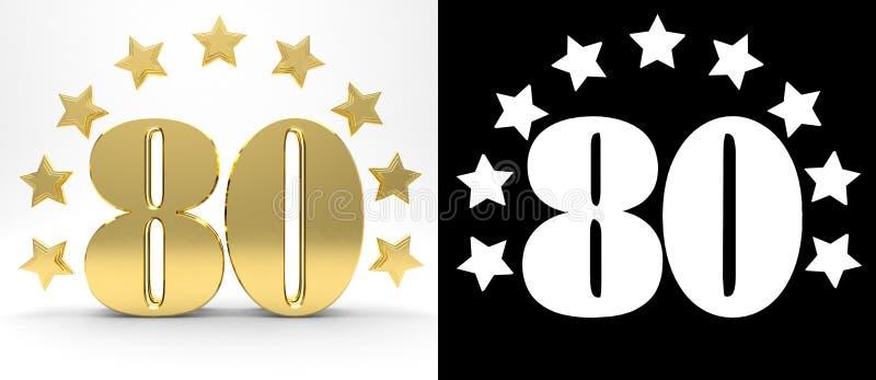 Gouden nummer tachtig op witte achtergrond met daling stelt en alpha- die kanaal in de schaduw, met een cirkel van sterren wordt  vector illustratie