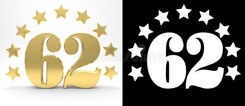 Gouden nummer tweeënzestig op witte achtergrond met daling stelt en alpha- die kanaal in de schaduw, met een cirkel van sterren w stock illustratie