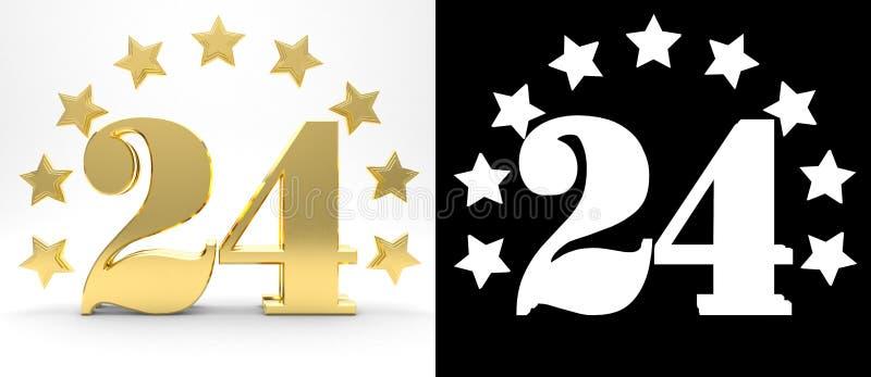Gouden nummer vierentwintig op witte achtergrond met daling stelt en alpha- die kanaal in de schaduw, met een cirkel van sterren  royalty-vrije illustratie