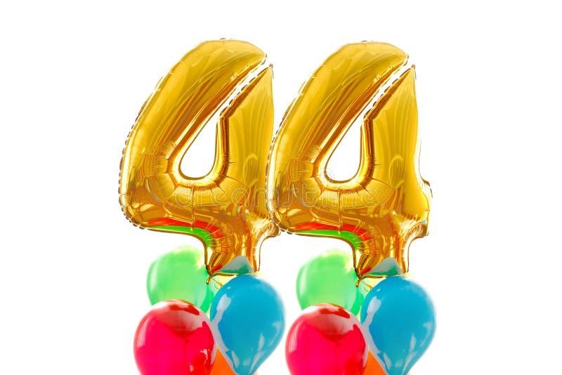 Gouden nummer vierenveertig ballon witte achtergrond royalty-vrije stock foto's