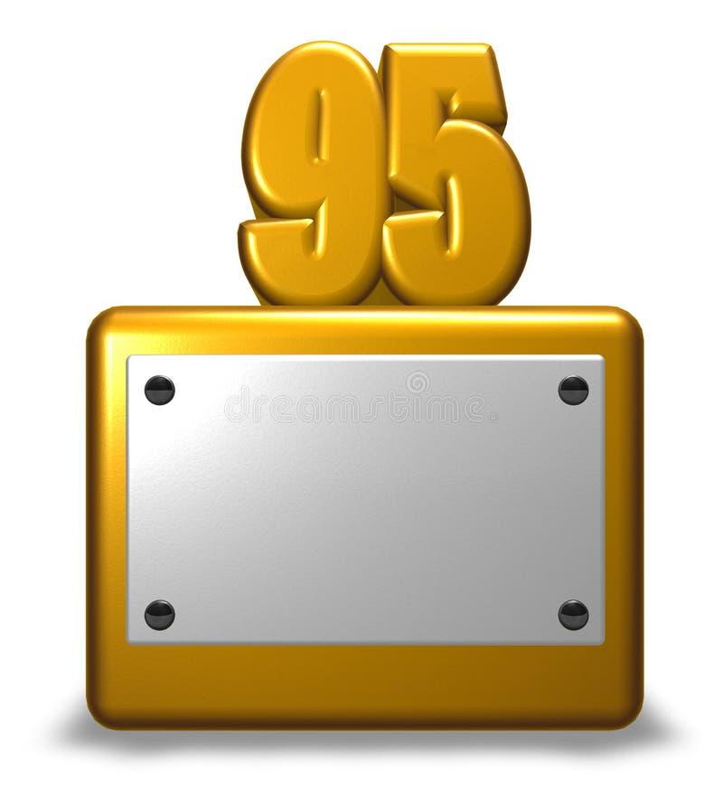 Gouden nummer vijfennegentig vector illustratie