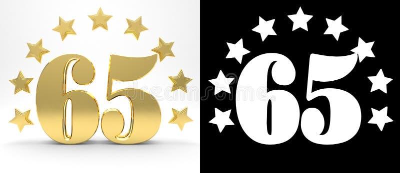Gouden nummer vijfenzestig op witte achtergrond met daling stelt en alpha- die kanaal in de schaduw, met een cirkel van sterren w vector illustratie