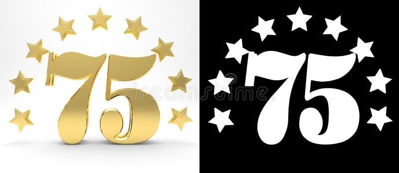 Gouden nummer vijfenzeventig op witte achtergrond met daling stelt en alpha- die kanaal in de schaduw, met een cirkel van sterren royalty-vrije illustratie