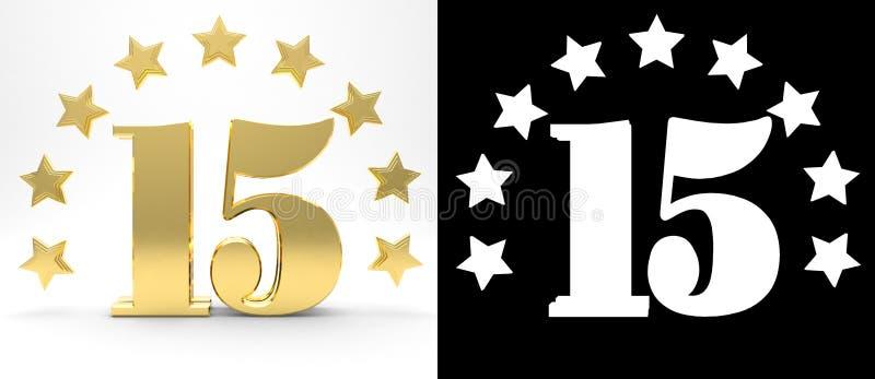 Gouden nummer vijftien op witte achtergrond met daling stelt en alpha- die kanaal in de schaduw, met een cirkel van sterren wordt royalty-vrije illustratie