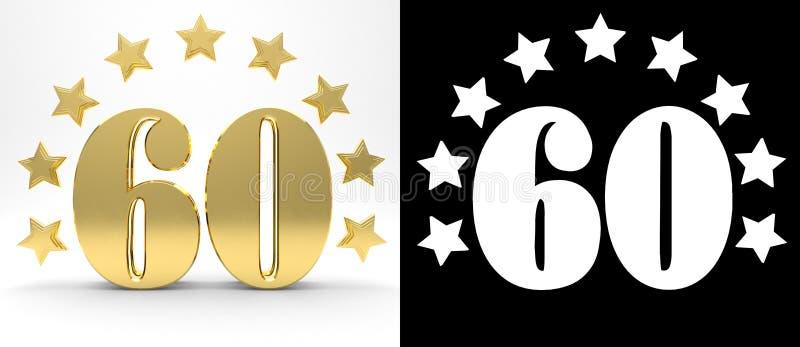 Gouden nummer zestig op witte achtergrond met daling stelt en alpha- die kanaal in de schaduw, met een cirkel van sterren wordt v vector illustratie