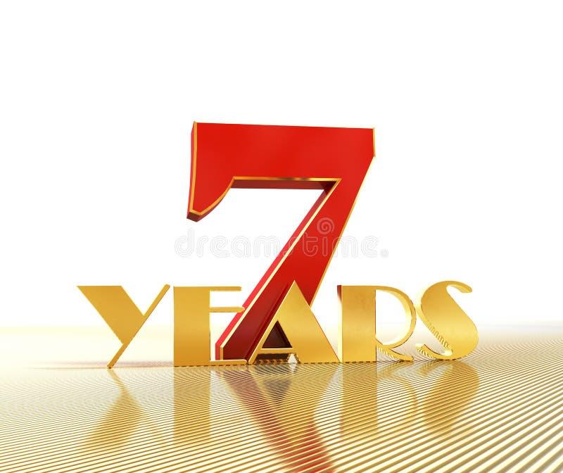 Gouden nummer zeven nummer 7 en het woord stock illustratie