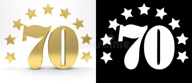 Gouden nummer zeventig op witte achtergrond met daling stelt en alpha- die kanaal in de schaduw, met een cirkel van sterren wordt vector illustratie