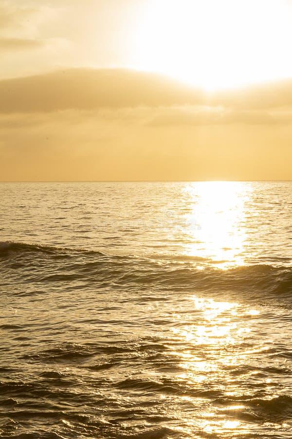 Gouden oceaan espanse bij zonsopgang met het vormen van golf stock foto's
