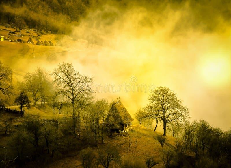 Gouden ochtendmist in de bergen, Transsylvanië royalty-vrije stock foto's