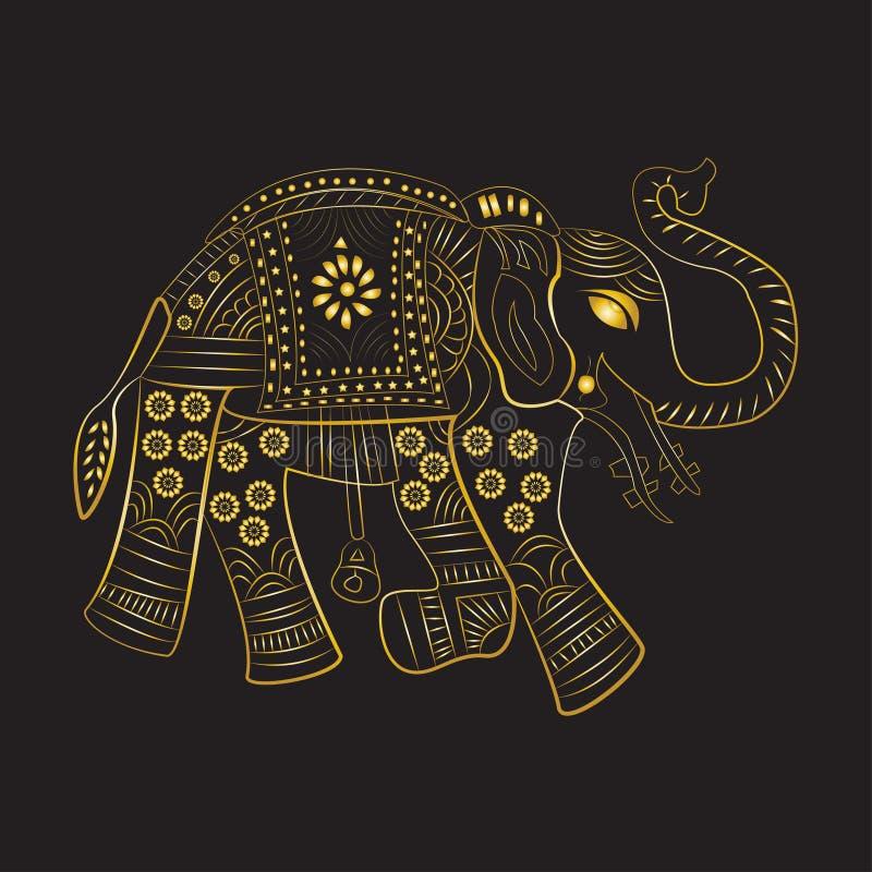 Gouden olifants traditionele verfraaide geïsoleerde zwarte achtergrond stock illustratie