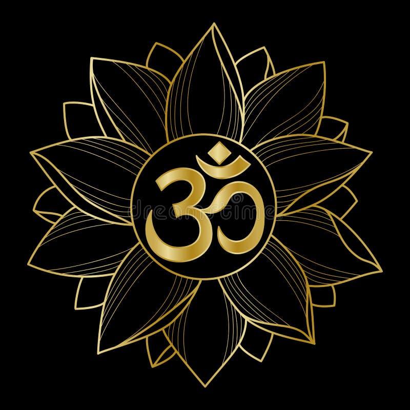 Gouden Om en Lotus stock illustratie