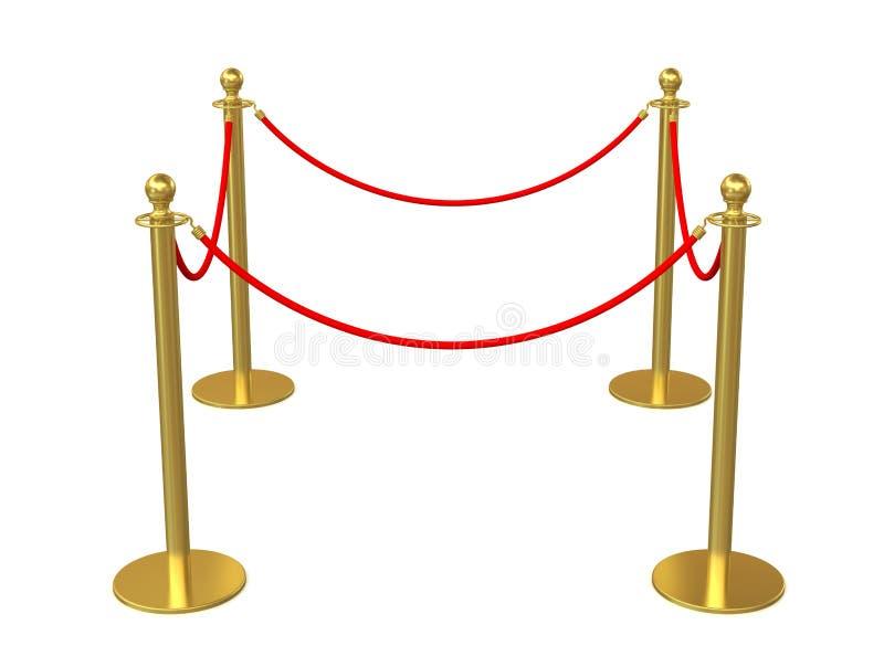 Gouden omheining, stang met rode barrièrekabel stock illustratie