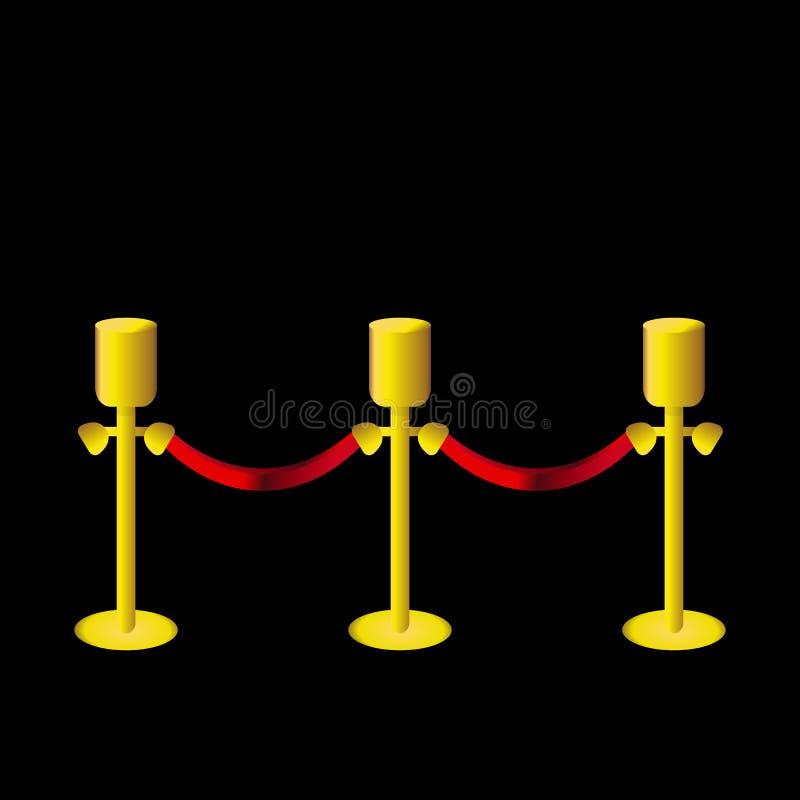 Gouden omheiningspost met rode kabel op zwarte backgroung vector illustratie
