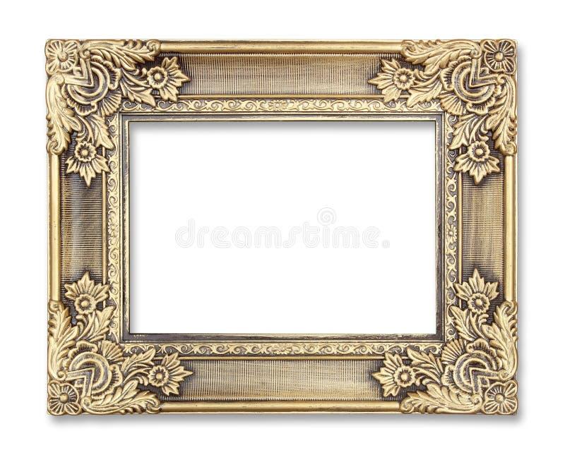 Gouden omlijsting met een decoratief patroon op witte achtergrond royalty-vrije stock foto's