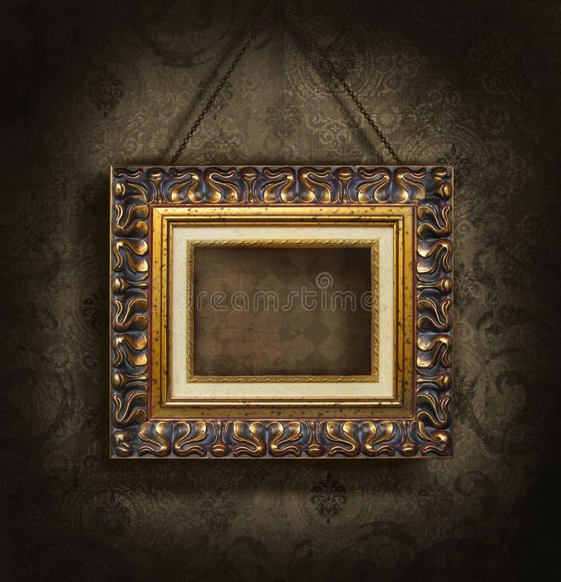 Gouden omlijsting op antiek behang royalty-vrije stock foto