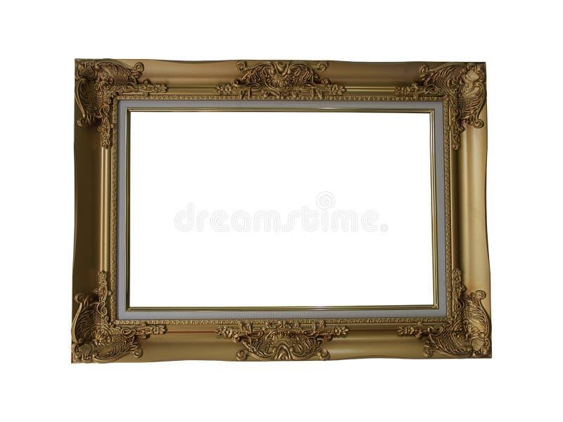 Gouden omlijsting op witte achtergrond stock foto