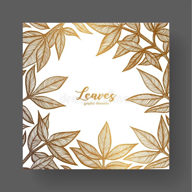 Gouden ontwerpmalplaatje voor huwelijksuitnodigingen, groetkaarten, etiketten, verpakkingsontwerp, kader voor inspirational citat royalty-vrije illustratie