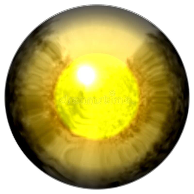 Gouden oog met open leerling en heldere gele retina op achtergrond Donkere kleurrijke iris rond leerling, geïsoleerd oog royalty-vrije illustratie