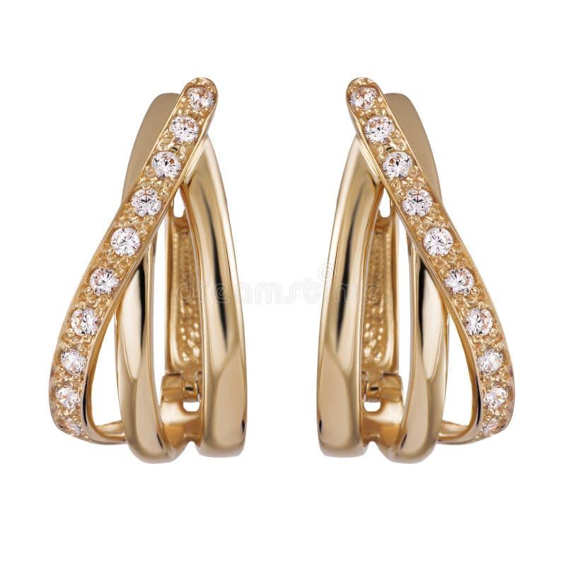 Gouden oorringen royalty-vrije stock foto's