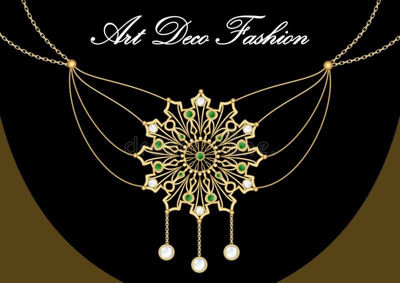 Gouden oorringen met groene gem Reeks van antiek gouden juweel in art decostijl Nostalgische uitstekende patronen Metaalmessingsj royalty-vrije illustratie