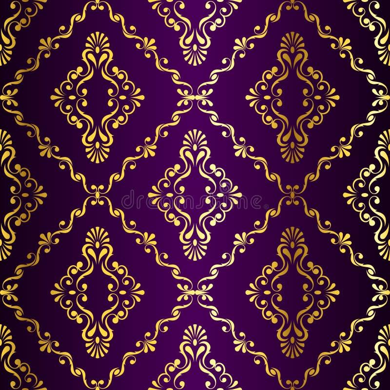 Gouden-op-purper naadloos swirly Indisch patroon royalty-vrije illustratie