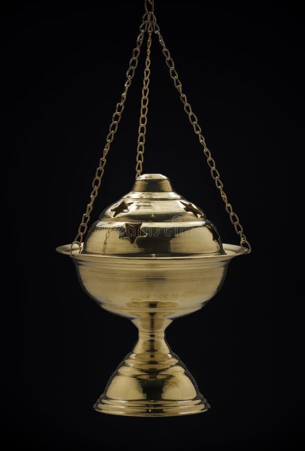 Gouden Origineel Ramadan Censer op Zwarte royalty-vrije stock afbeelding