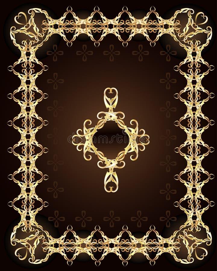 Gouden ornament op een bruine achtergrond vector illustratie