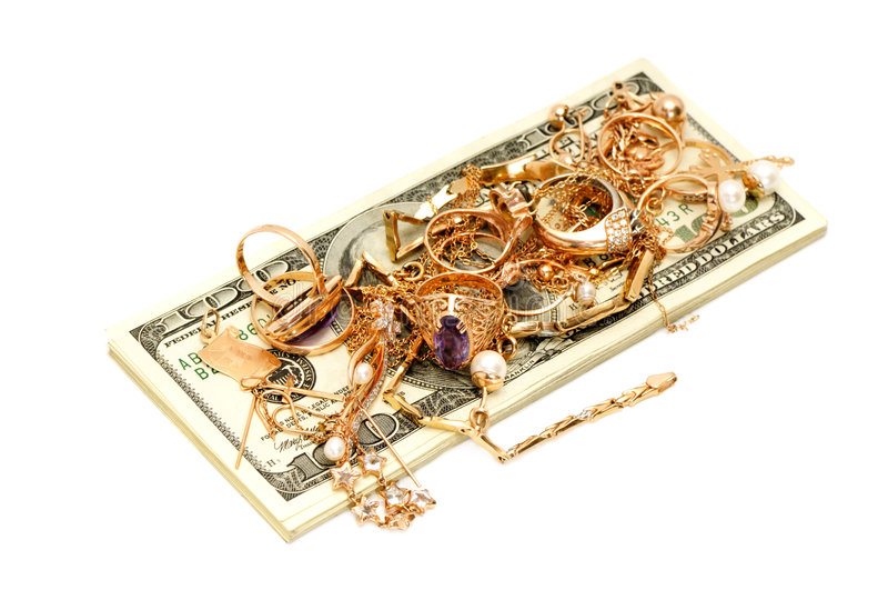 Gouden ornamenten en dollars royalty-vrije stock fotografie
