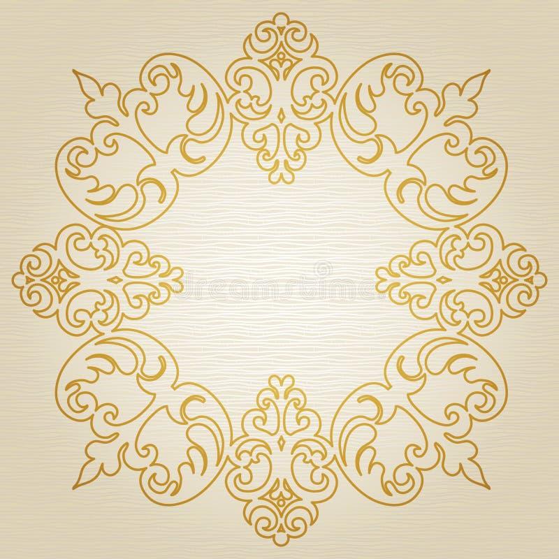 Gouden ornamentkader royalty-vrije illustratie