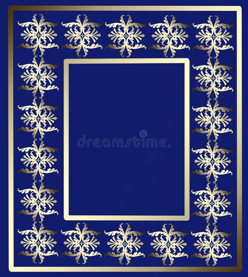 Gouden ornamentkader op een blauwe achtergrond stock illustratie