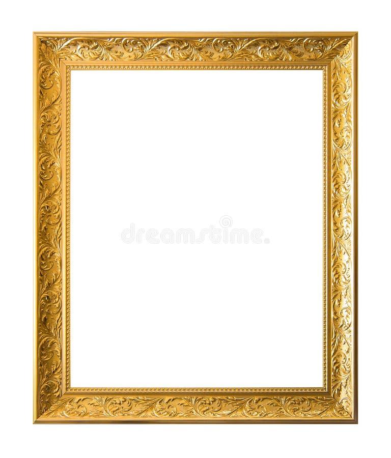 Gouden oud uitstekend die kader op witte achtergrond wordt ge?soleerd stock fotografie