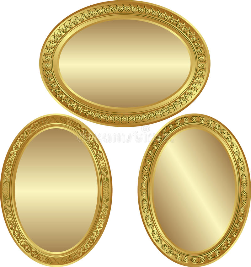 Gouden Ovale Achtergrond Stock Fotografie