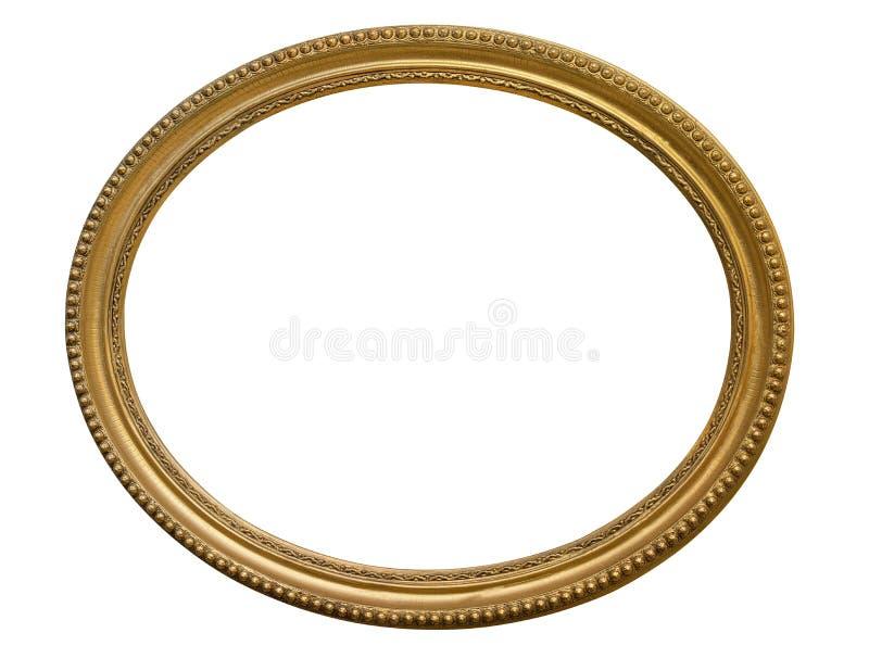 Gouden ovale omlijsting Geïsoleerd over wit royalty-vrije stock afbeeldingen