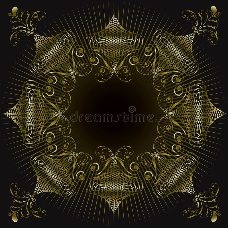 Gouden overladen wervelingsframe stock illustratie