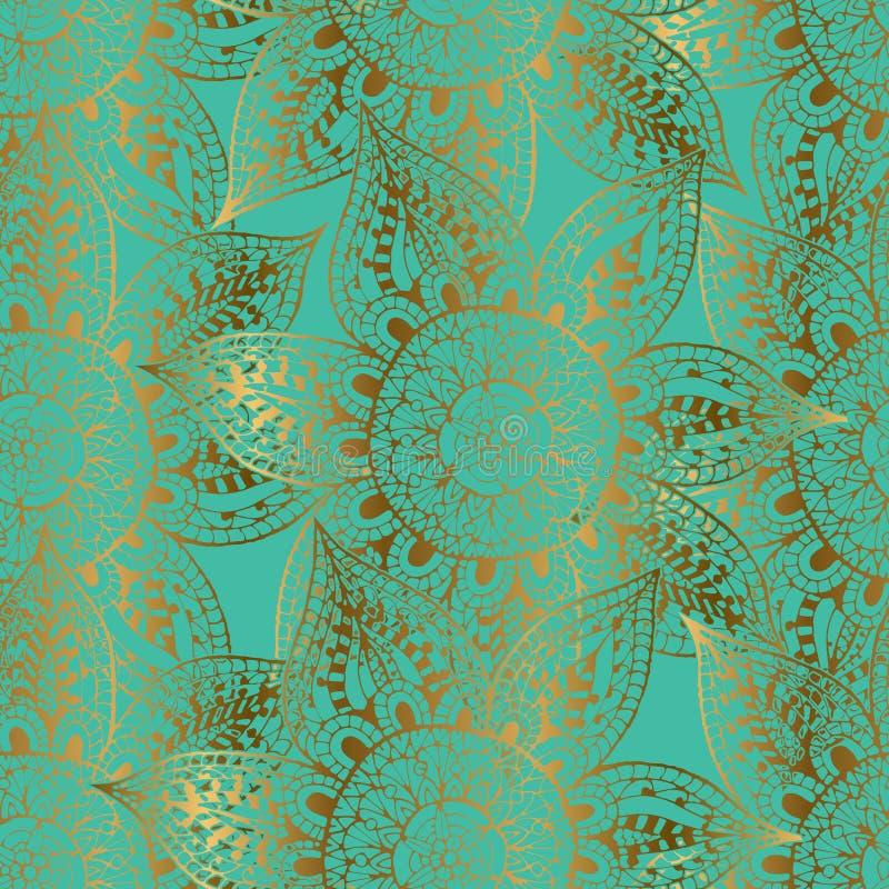 Gouden overzichten van bloemen op turkooise achtergrond stock illustratie