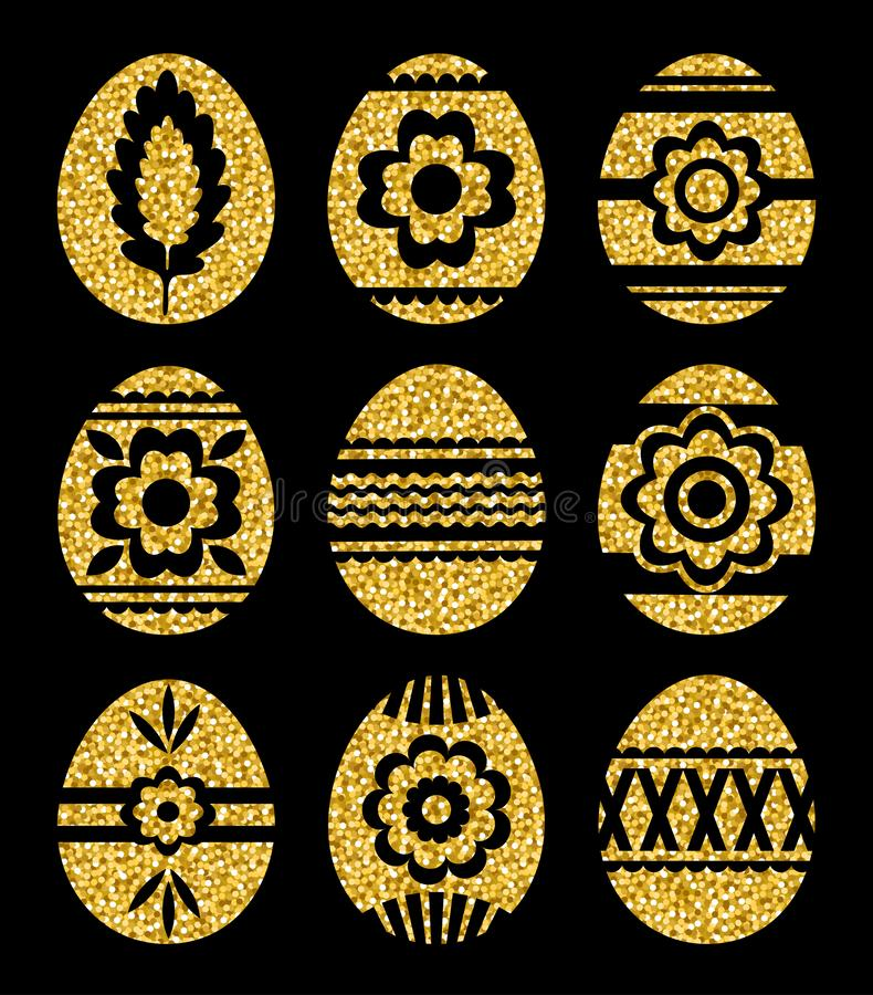 Gouden paaseieren die op zwarte achtergrond worden geïsoleerd VakantiePaaseieren met bloemen worden verfraaid die Drukontwerp, et stock illustratie