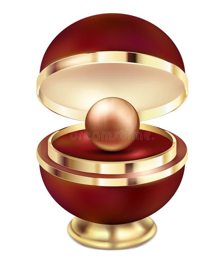 Gouden pareljuwelen in een gift rode doos Een grote gouden gouden parel in een mooie rode gift om pakket met een gouden ontwerp o royalty-vrije illustratie