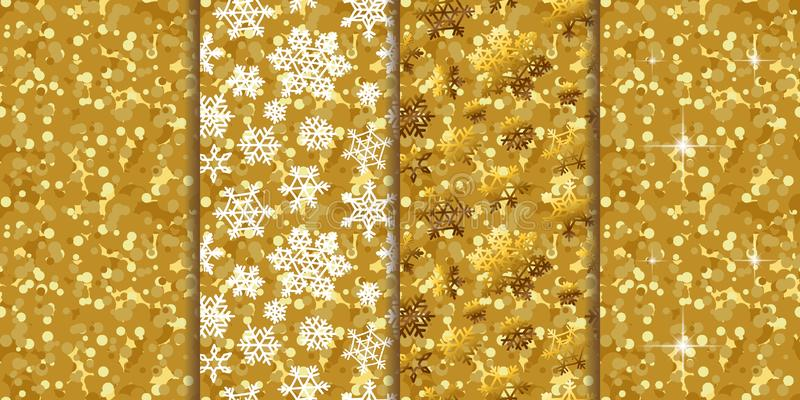 Gouden patroon naadloze achtergronden vier in één reeks stock illustratie